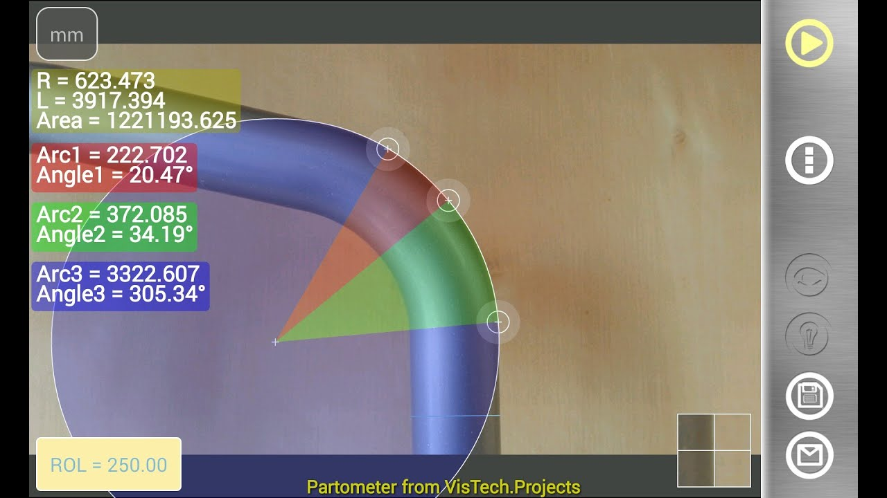 Partometer on Android: pipe bend angle and radius measurements