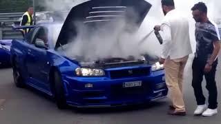 R34 GTR ON FIRE!!