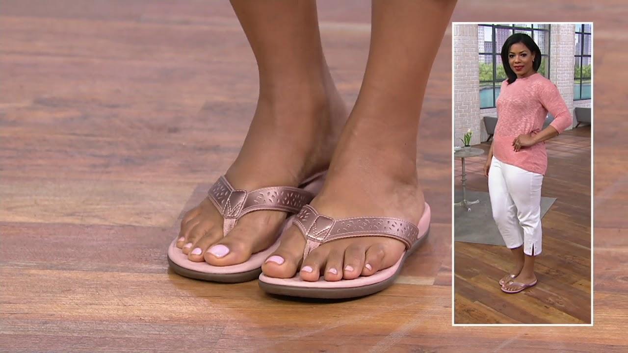 Vionic Leather Thong Sandals - Tide