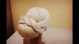 Потрясающая и Легкая вечерняя и свадебная прическа.Гладкий пучок.A light hairstyle based on a ray.