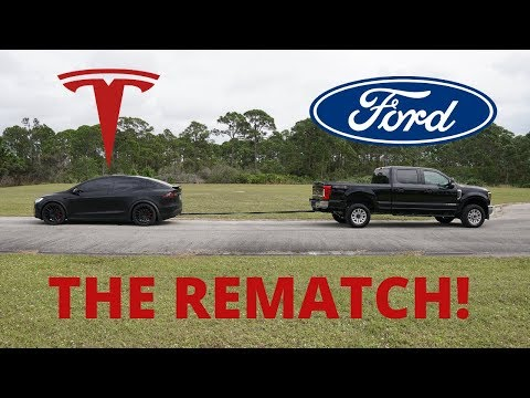 The Ford Vs. Tesla Rematch: F 250 Vs. Tesla Model X Tug-of-war