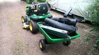 john deere x140 with utility cart 7p