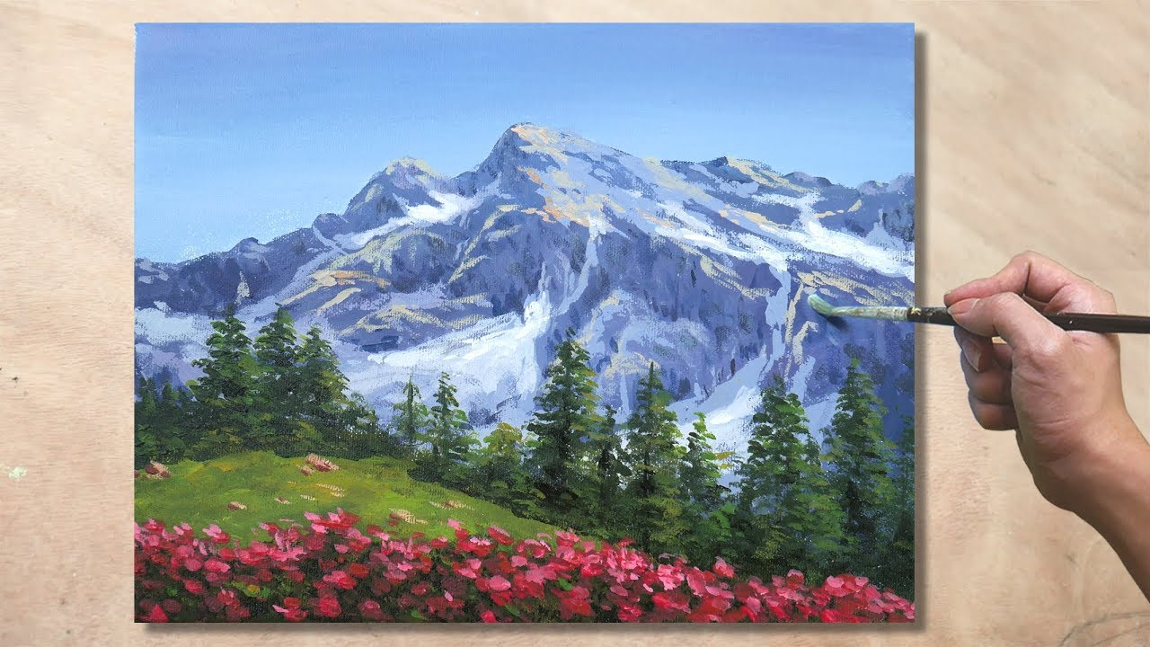 How to Paint Mountain Landscape / Acrylic Painting