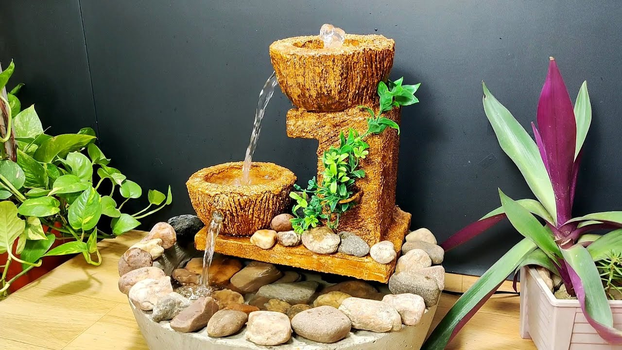 Beautiful amazing very nice waterfall fountain water fountain making at home