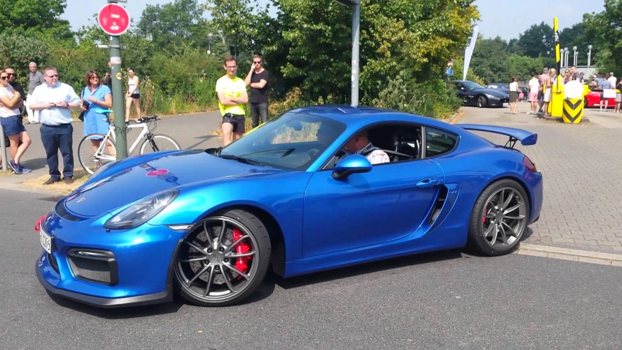 blue porsche cayman gt4 leaving cars and coffee d sseldorf youtube. Black Bedroom Furniture Sets. Home Design Ideas