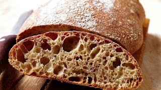 Цельнозерновой хлеб на закваске, влажное тесто