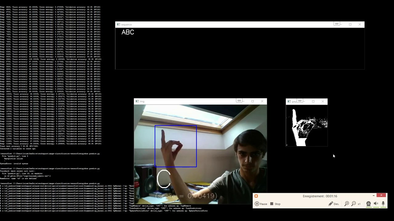 Sign Language Recognition: alphabet (Python, OpenCV, Tensorflow model  InceptionV3)