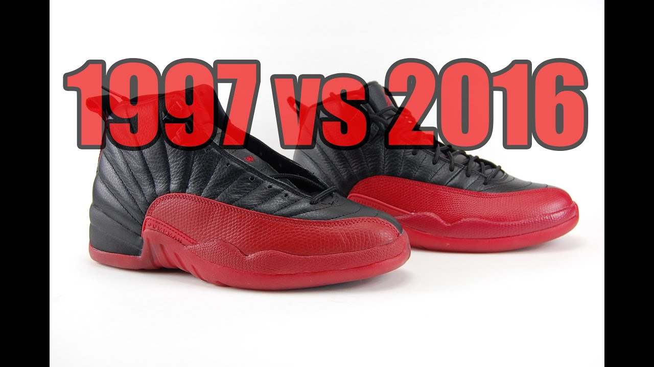 taille 40 8e7cd 29940 2016 vs 1997 Air jordan 12 Flu Game (Bred) Comparison