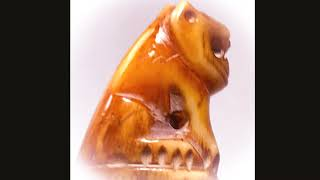 Ancient Carved Tooth with Tiger Power Amulet LP Parn Wat Bang Hia