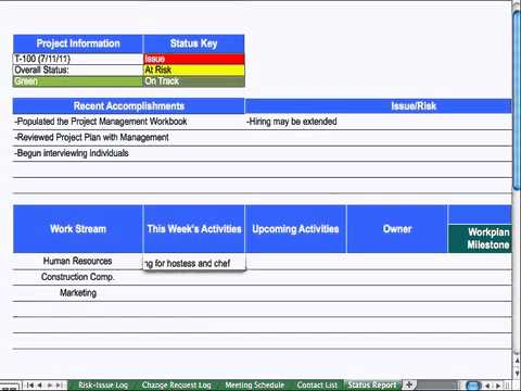9) Status Report - Project Management - YouTube - project status sheet