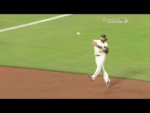 SD@SF: Crawford backhands grounder, makes long throw