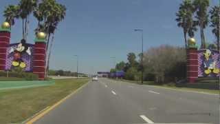 Walt Disney World Driving Down World Drive to Animal Kingdom 2013 HD