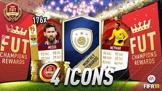 4 ICONS AND 210 RED INFORM PLAYERS!! FIFA18 FUT CHAMPIONS TOP 100 REWARDS!!
