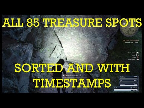 Final Fantasy XV: all 85 treasure spots (including secret) on the world map. Full list and in order.