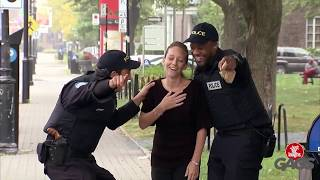 Cop Shoots Himself in the Foot with Gun Prank!   Just For Laughs Gags