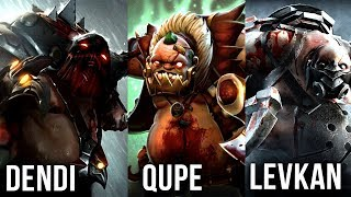 Best Pudge Players in The World Dendi vs Qupe vs Levkan - EPIC Battle - Dota 2