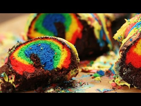 Chocolate Rainbow Surprise Cake