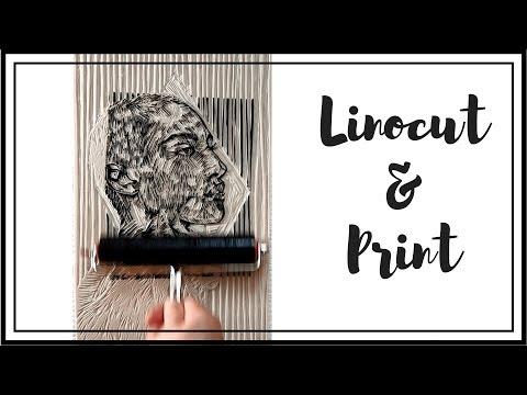 Linocut & Print - Woman And Cat