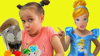 Disney Princess Cinderella & Yulya Pretend Play Clean Up with funny cleaning toys