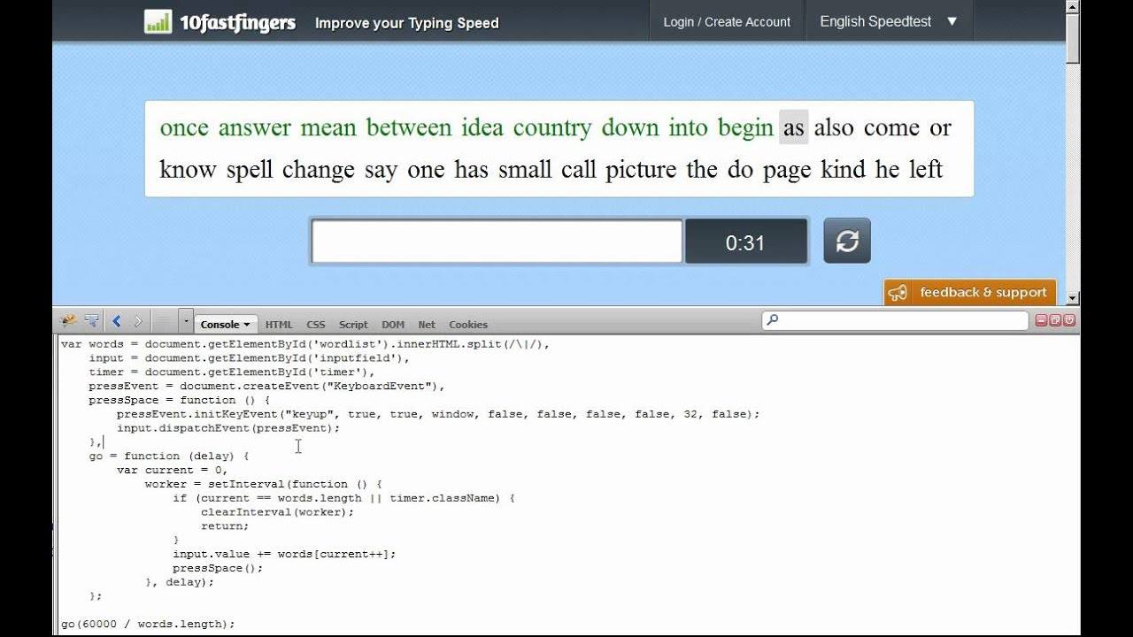Andreas Grech's Blog: Cheating at a typing test with JavaScript
