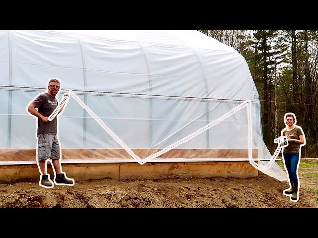 We are SO Close to GROWING a YEARS worth of FOOD NOW! Installing Roll Up SIDES on GREENHOUSE GHB#17
