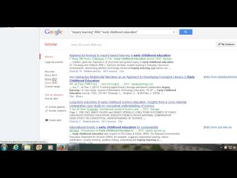 demonstration of search strings  in Google scholar