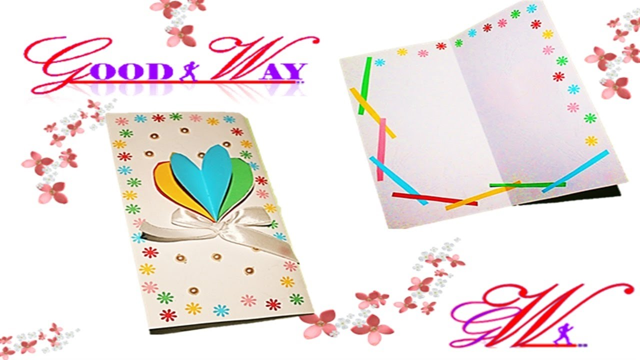 طريقة عمل بطاقة تهنئة أو دعوة 15 How To Make Valentine S Day Card Rainbow Heart Greeting Card Youtube