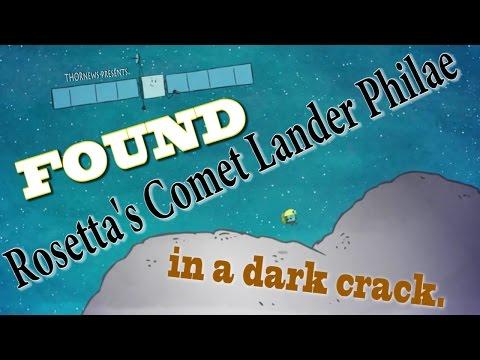 Comet Lander Philae was Found in Comet's dark crack as  ESA prepares to crash Rosetta into 67/P