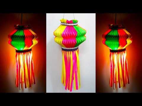 DIY-Paper Lantern/Akash kandil for Diwali/Christmas Decorations Ideas|Akash kandil Making at Home