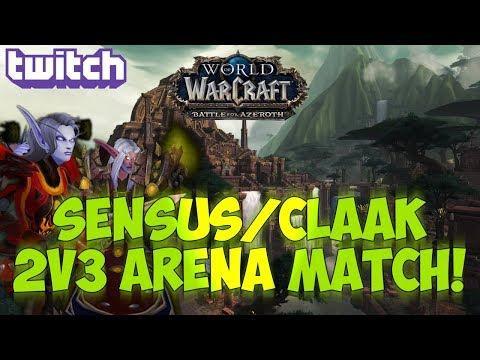 Sensus  WoW BFA Rogue PvP  SensusClaak 2v3 Arena Match! World of Warcraft BFA 3v3 Arena PvP