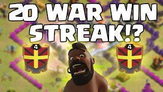 Level 4 Clan, 20 WAR WIN STREAK!? WHAT!? This is INSANE! - Clash of Clans