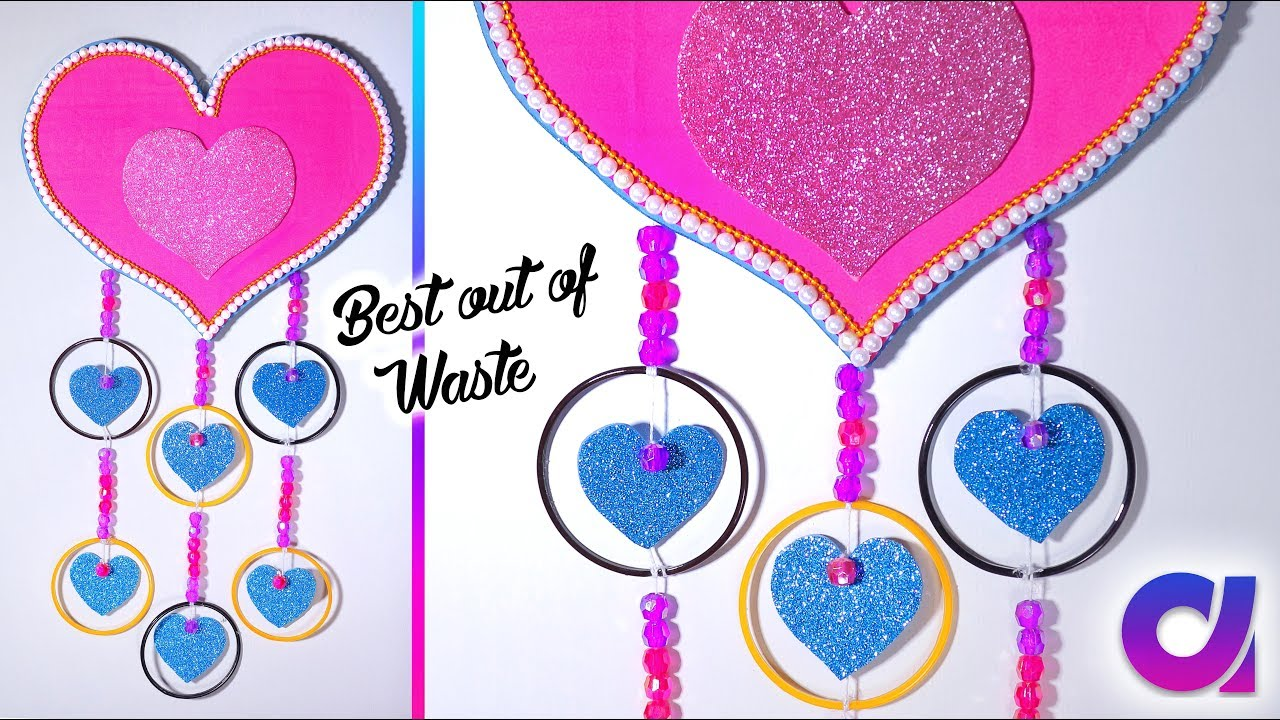 Diy wall hanging decor from waste broken bangles wall for Decorative items from waste