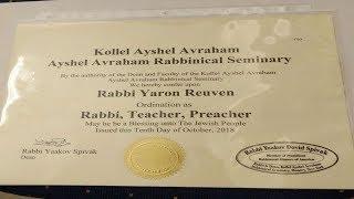 Rav Yaakov Spivak Kollel Ayshel Avraham support & Semicha to Rabbi Yaron Reuven
