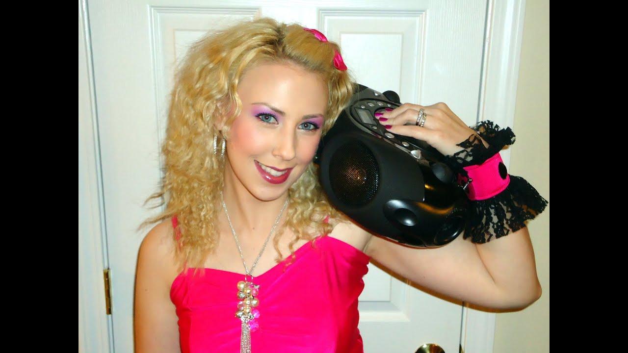 Halloween Tutorial Easy 80 s Party Girl Makeup Hair & Costume