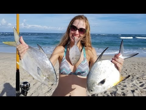 Catching Pompano....and Permit!!! From the Beach!