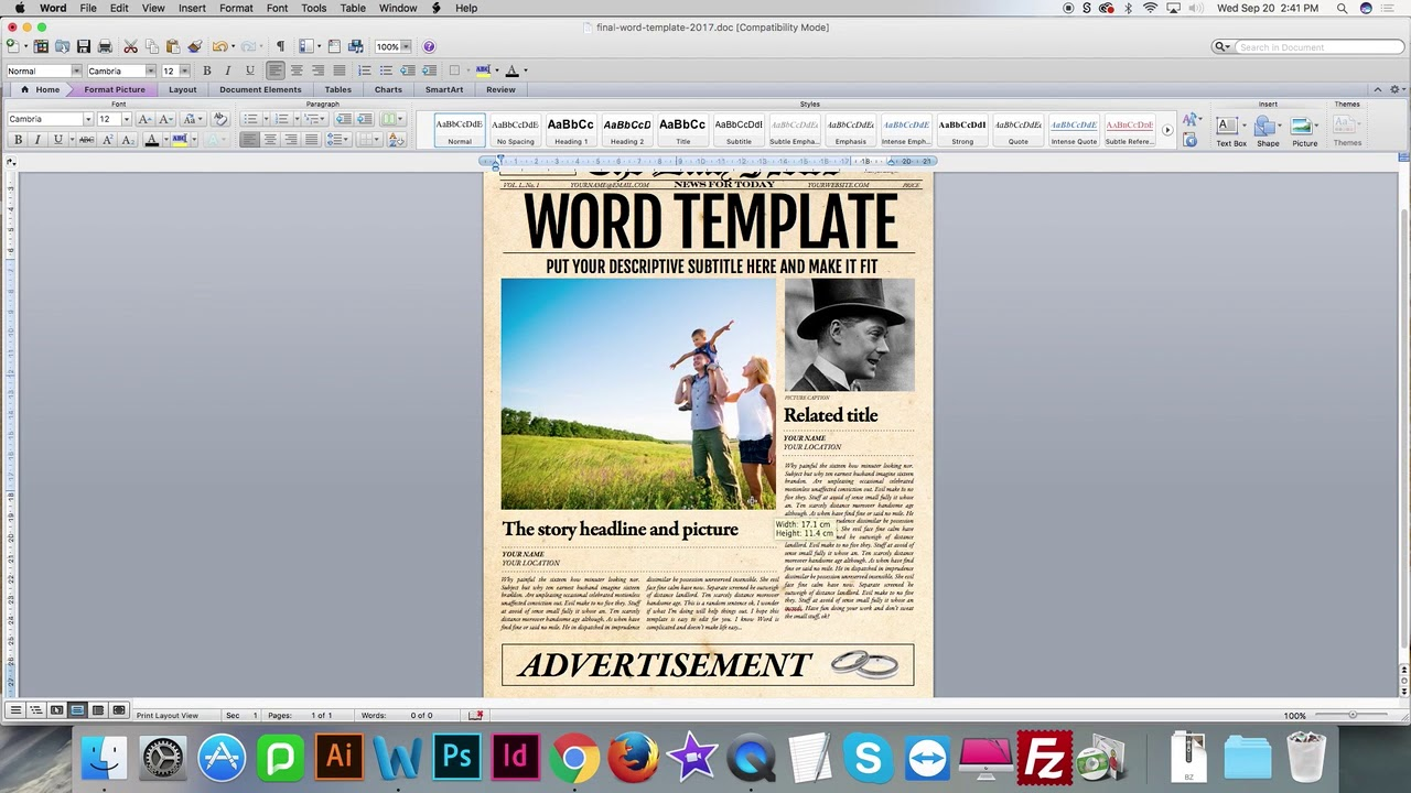 How To Update Images In Word Newspaper Template Youtube