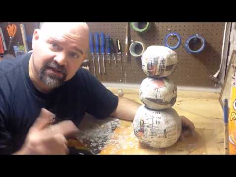 How to make a twisted Christmas Snowman from paper mache