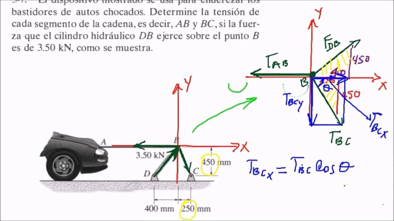 ESTÁTICA: EQUILIBRIO DE PARTÍCULA EN 2D; Ejercicio 3-7; estática de ...