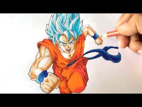 How to draw Son Goku 孫悟空  SSGSS [Dragonball Fukkatsu no F] Drawing Tutorial