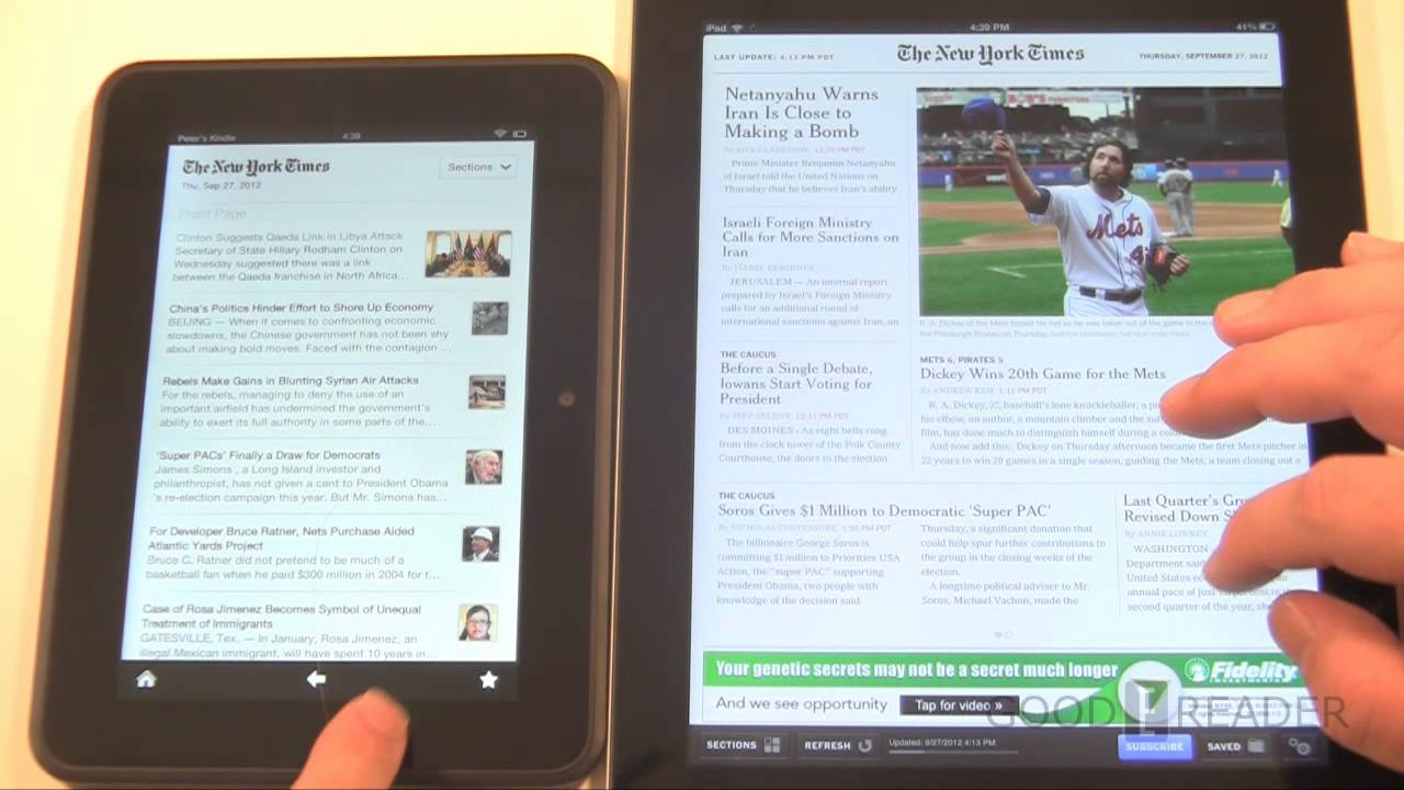 New Apple iPad VS Amazon Kindle Fire HD 7 - Reading Tests