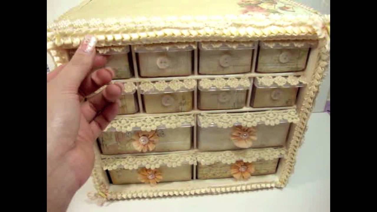 vintage shabby chic storage organizer idea youtube. Black Bedroom Furniture Sets. Home Design Ideas