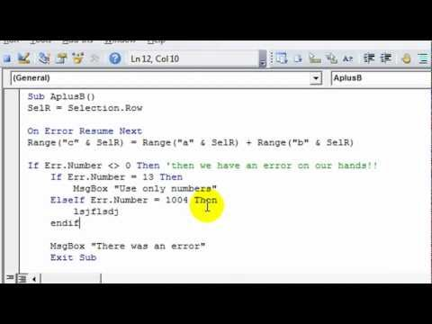 Excel VBA Basics #16C ERRORS - Determine If There Was An Error, Which Type, and Define What To Do