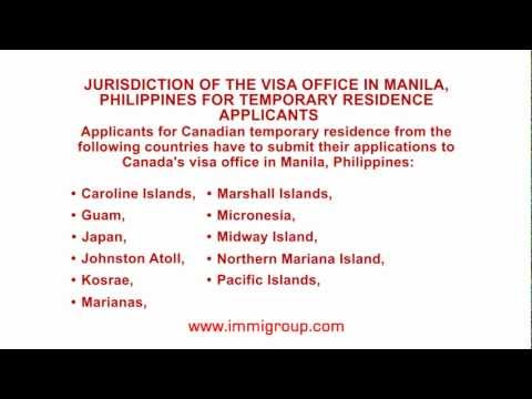 Jurisdiction of the visa office in Manila, Philippines for temporary residence applicants