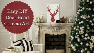 Easy Holiday Reclaimed Wood DIY with Deer Head Stencil!