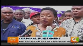 Pupil in hospital after a teacher allegedly caned him