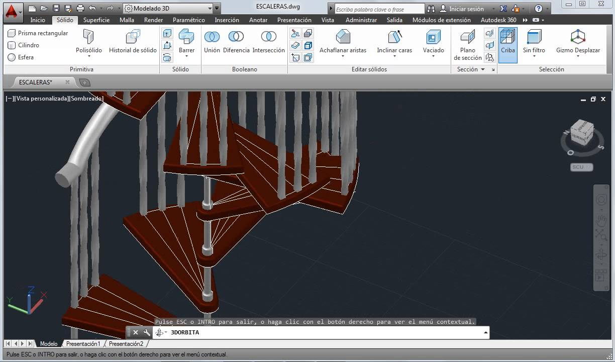 Escaleras en autocad 2014 youtube for Escaleras 3d max