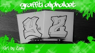 GRAFFITI ALPHABET for beginners   How to draw letters Y & Z | Art by Zapy