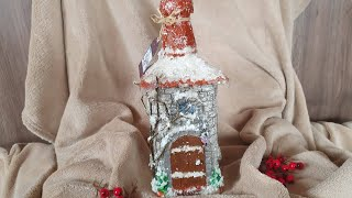 DIY: How to make Ice house for Christmas on a whiskey bottle  TUTORIAL