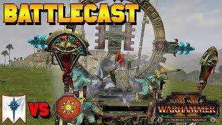 Prophet & Warlock Early Access Battle! DahvPlays (Lizardmen) vs. High Elves | Total War: Warhammer 2
