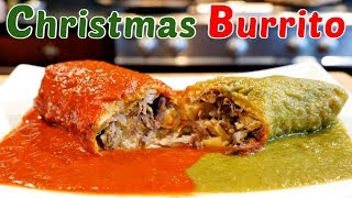 CHRISTMAS BURRITO SHREDDED BEEF POTATO WITH RED AND GREEN MEXICAN STYLE SAUCE